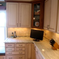 Granite Top Kitchen Island Farm House Table Cherry/maple Cabinets, Ambroisa White Granite, Tile ...