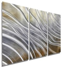 Contemporary Gold, Silver and Brown Modern Metal Wall Art ...