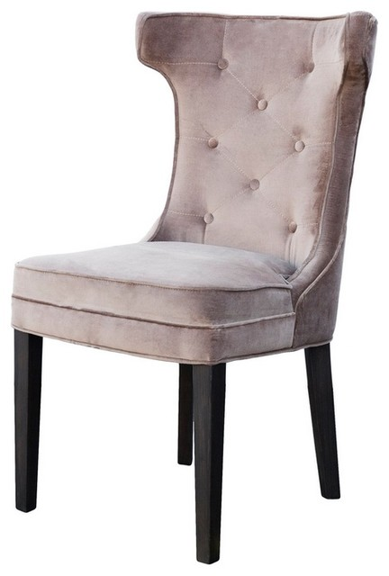 Tufted Back Velvet Dining Chair  Traditional  Dining