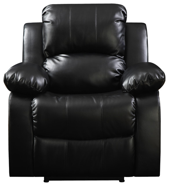 wall hugger recliner chair beach target prolounger renu leather electric black contemporary chairs by handy living