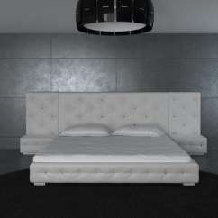 Living Rooms With Black Leather Sofas Best Wall Paint Colors For Room White Modern Bed Headboard 2 Nightstands ...