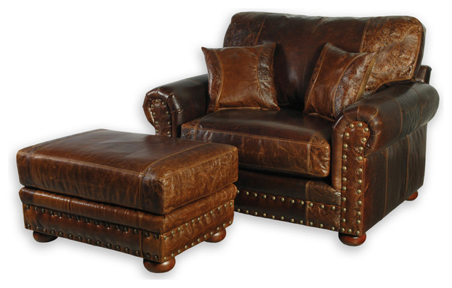 oversized leather chair and ottoman antique chairs for sale western style southwestern armchairs accent by bitterroot bit spur