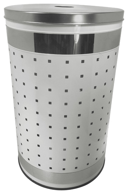 Shop Houzz  Krugg Reflections White  Polished Stainless Steel Laundry Bin  Hamper 50L