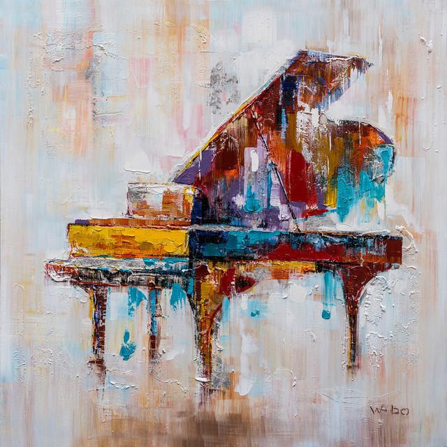 colorful grand piano hand