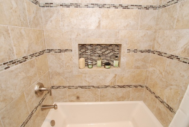 Furniture Vanity & Rectangle Sink & Glass Tile Inlay