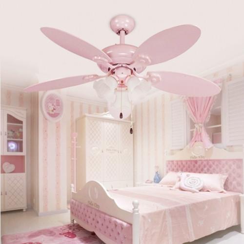 Cute Pink Girls Ceiling Fan Lights European Style