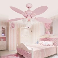 Cute Pink Girls Ceiling Fan Lights European Style
