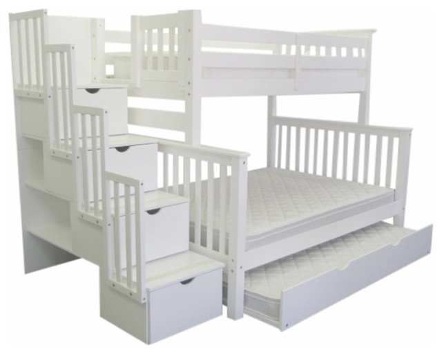 Bunk Beds Twin Over Full Stairway White And Trundle