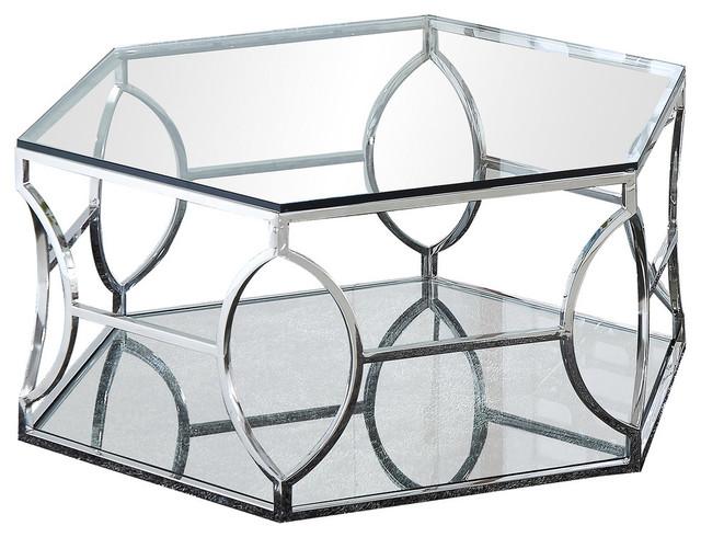 brooke hexagonal silver clear glass coffee table