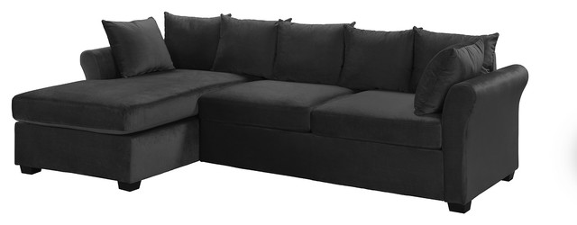 modern velvet sectional sofa large l shape couch with extra wide chaise lounge