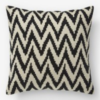 Chevron Crewel Pillow Cover, Iron - Contemporary ...