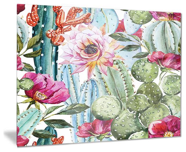 """""""Cactus Pattern Watercolor"""" Floral Digital Glossy Metal"""