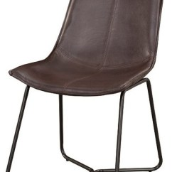 Leather Side Chair Swing On Stand Bonded Chairs With Metal Legs Set Of 2 Dark Brown Industrial Dining By Ergode