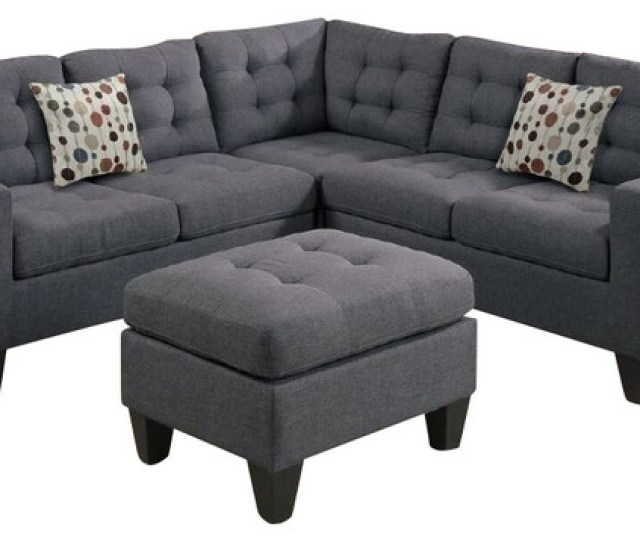 4 Piece Modular Sectional Sofa And Ottoman Grey