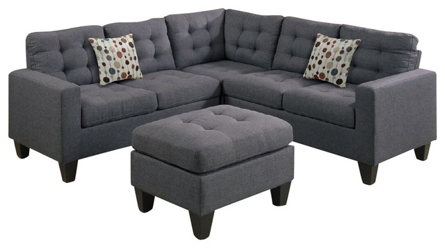 3 piece microfiber sectional sofa with chaise sure fit denim slipcover inpod - 4-piece modular and ottoman view ...