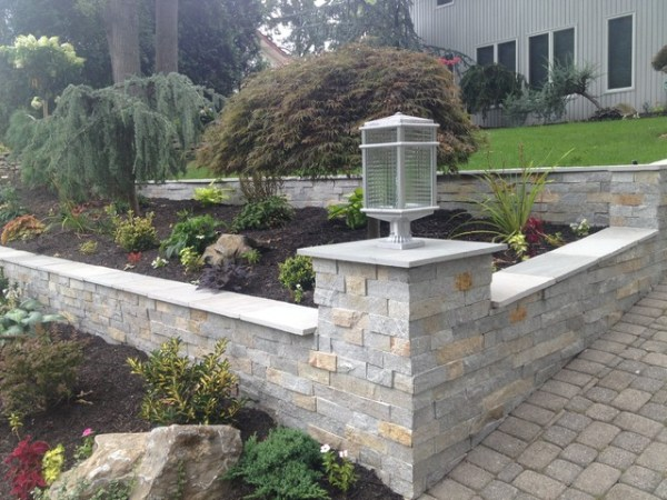 sloped driveway & garden retaining
