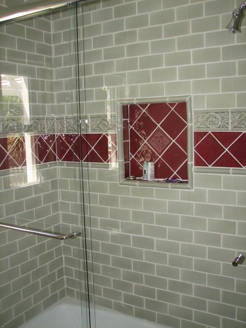 Sage Green and Burgundy Tile WalkerZanger Guest Bath