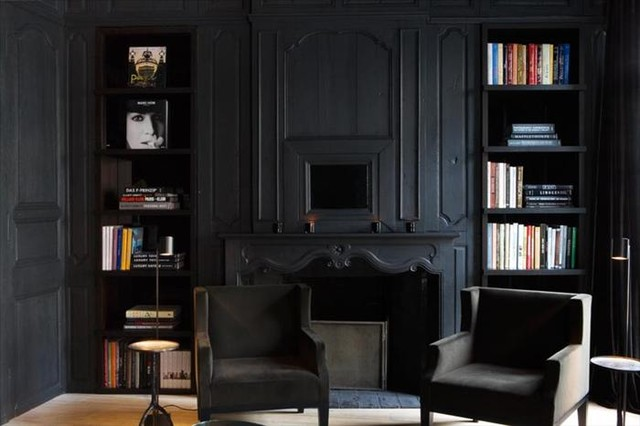 Matte Black room space  Traditional  Living Room  Atlanta  by Candlewycke Murals and Fine Art
