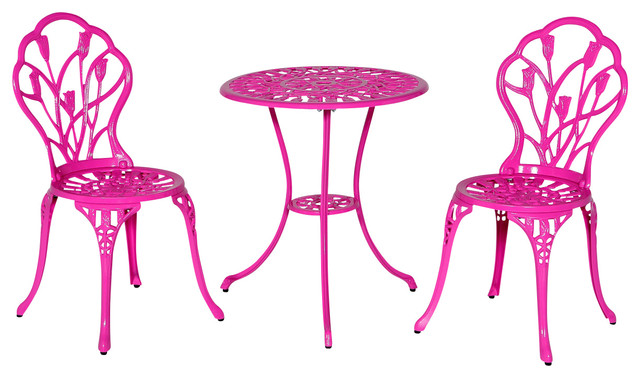 outdoor bistro table and chairs set black ruched chair covers tulip pink contemporary pub sets by meadow decor inc