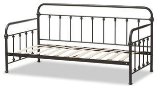 Baxton Studio Elsie Vintage Industrial Black Finished Metal Daybed