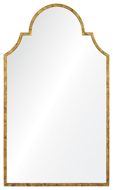 Tall Arched Mirror, Distressed Gold Leaf transitional-wall-mirrors