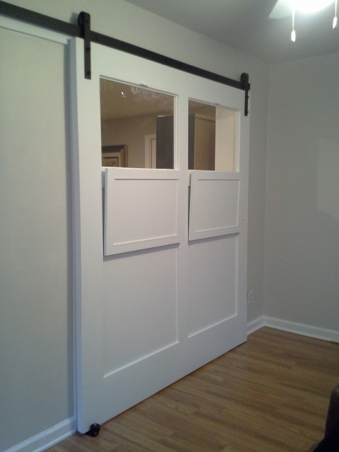 White sliding interior barn door  Contemporary  Atlanta  by True Carpentry and Cabinetry