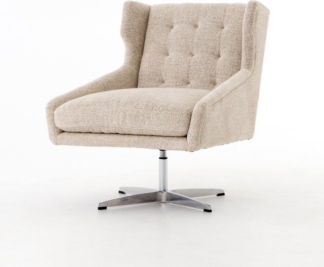 swivel chair office warehouse modern wingback pottery barn walton plushtone linen polished steel contemporary chairs by c furniture