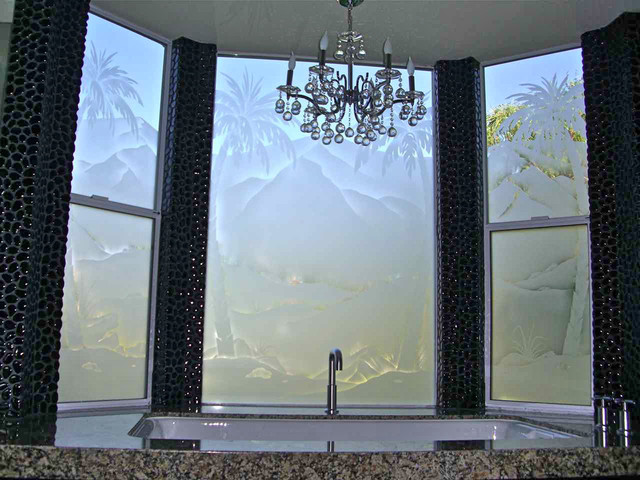 palm tree desert landscape - bathroom windows - frosted glass