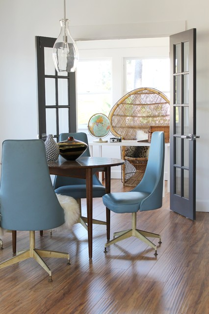 Mid Century Modern Chairs and Peacock Chair in Office