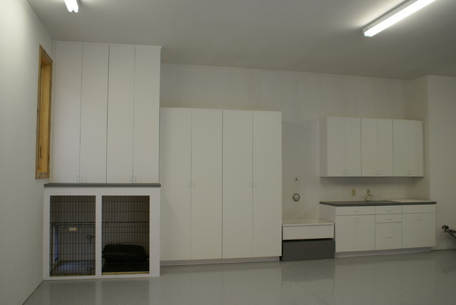 Laminate Garage Cabinets with Dog Kennel