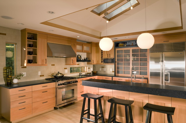 Japanese Style Kitchen With Skylights Asian Kitchen San