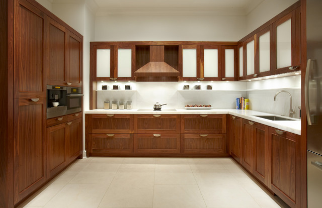 Contemporary Walnut Kitchen Cabinets Traditional Kitchen Other