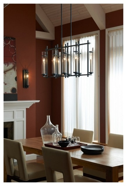 Modern Industrial Chic Iron Linear Chandelier with Cylinder Glass  Contemporary  Dining Room