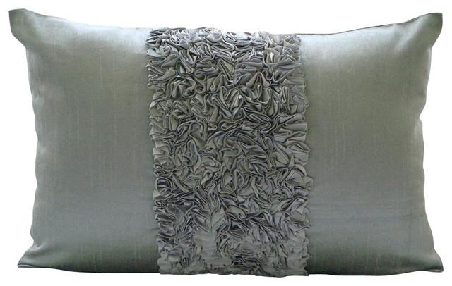 silver textured ribbon 12 x14 silk lumbar pillow cover vintage silver love