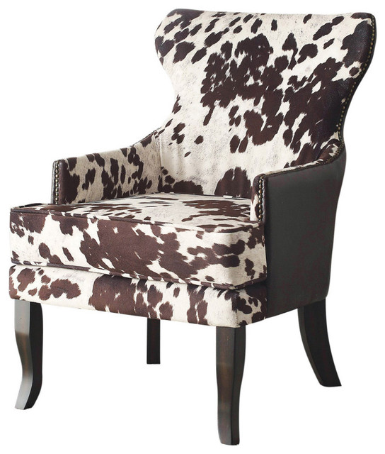 at home chairs aeron chair herman miller review faux cowhide fabric accent with stud detail contemporary armchairs and by inspire