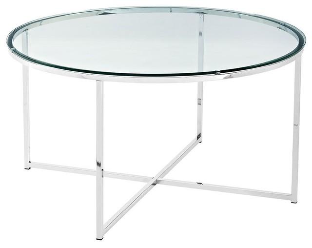 2 piece round coffee table set glass chrome