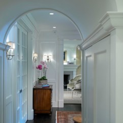 Living Room Furniture Arrangements With Tv The Lounge Indianapolis Georgian Rebirth Hallway Arch - Traditional Hall ...