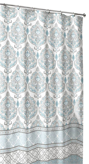 fabric shower curtain damask with geometric border design teal grey white