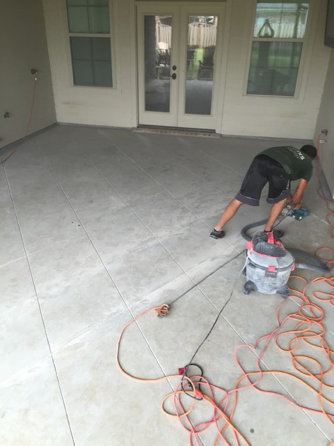 diamond tile scored concrete patio