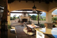 Spanish Style Covered Outdoor Dining with fireplace in ...