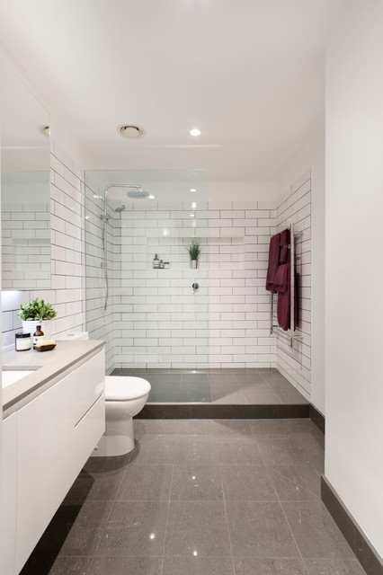 dark grey flooring living room yellow and blue ideas brunswick bathroom renovation - modern ...