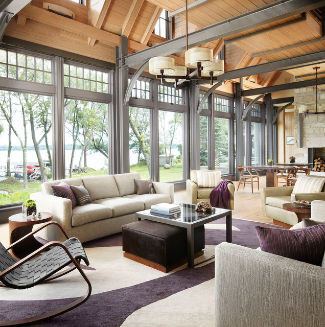 lake house living room ideas with dark brown couch retreat contemporary chicago by