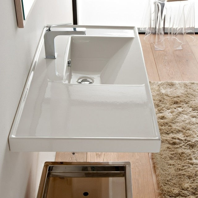 Large Rectangular White Ceramic Self Rimming or Wall Mounted Sink  Contemporary  Bathroom