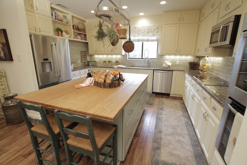 kitchen swivel chairs black hutch property brothers / bamboo counter top