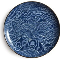 Kitchen Plates Black And White Tile Aranami Blue 10 Plate Asian Dinner By Miya Company
