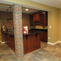Baltimore Kitchen Remodeling Replacement Cabinets Basement Remodel With New Bar And Ceramic Tile Floor ...