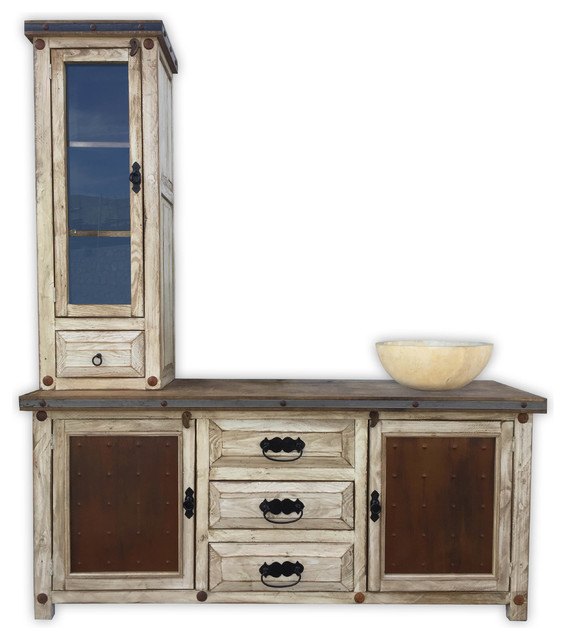 Woodland 72 Rustic Vanity With Tower Metal Panels Farmhouse Bathroom Vanities And Sink Consoles By Rancho Collection