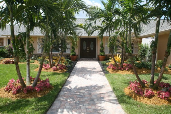 front entance landscaping - tropical