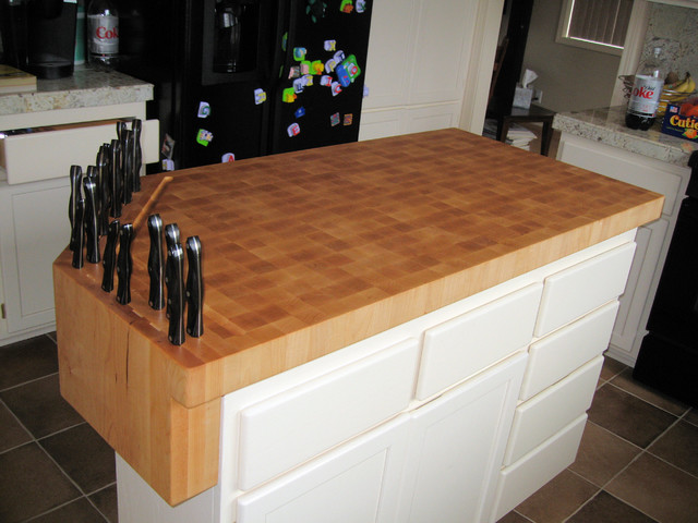 ready made island for kitchen cabinets unfinished custom built-in knife block on butcher work ...