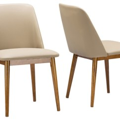 Faux Leather Dining Chairs Fold Up Bed Chair Lavin Midcentury Dark Walnut Beige Set Of 2 By Baxton Studio